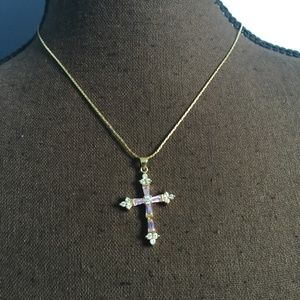 Cookie Lee Pink & Clear Rhinestone Cross Necklace
